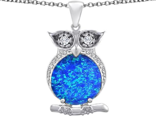 Star K Large 10mm Round Blue Created Opal Good Luck Owl Pendant Necklace in Sterling Silver