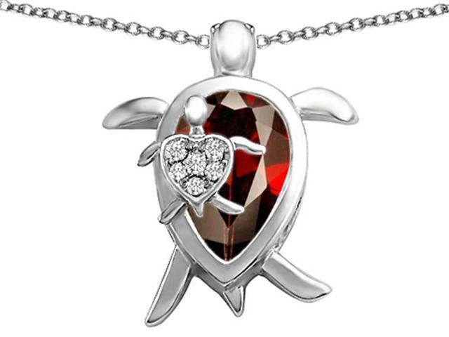 Star K Large Mother and Baby Turtle family Pendant Necklace with 12x8mm Pear Shape Simulated Garnet in Sterling Silver