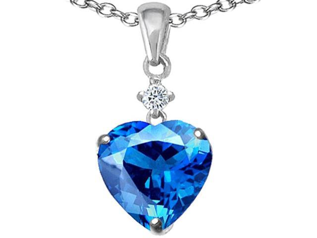 Star K Heart Shape 8mm Simulated Blue Topaz Pendant Necklace in Sterling Silver