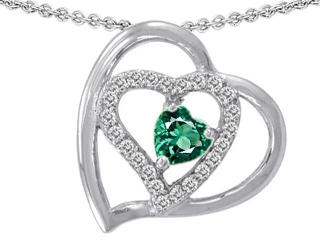 Star K Heart Shape Simulated Emerald Heart Pendant in Sterling Silver