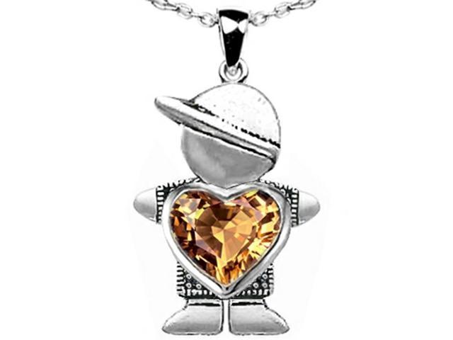 Star K Boy Holding 8mm Mother Heart Pendant with Simulated Imperial Yellow Topaz in Sterling Silver