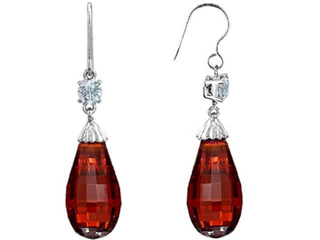 Star K Briolette Drop Cut Simulated Garnet Hanging Hook Chandelier Earrings in Sterling Silver