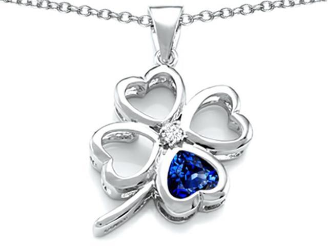 Star K Large 7mm Heart Shape Created Sapphire Lucky Clover Heart Pendant Necklace in Sterling Silver