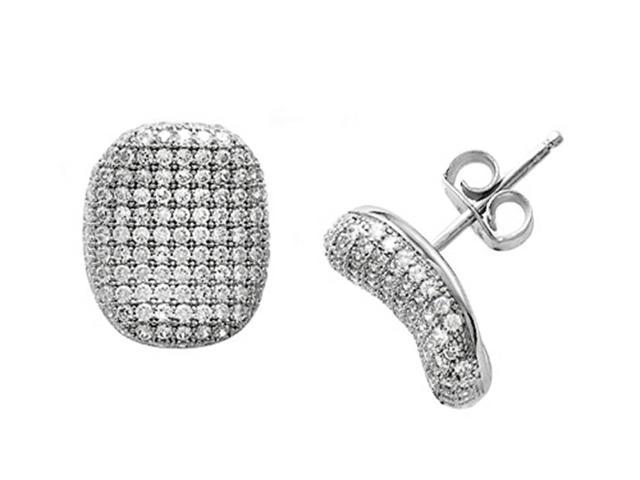 Zoe R Sterling Silver Micro Pave Hand Set Cubic Zirconia CZ Earrings