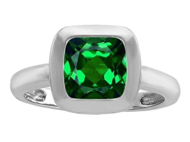 Star K 8mm Cushion Cut Solitaire Ring with Simulated Emerald in Sterling Silver Size 5