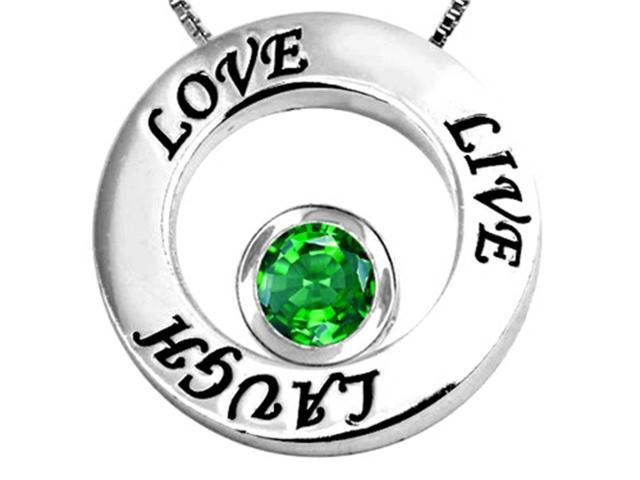 Star K Live/Love/Laugh Circle of Life Pendant Necklace with May Birth Month Round 7mm Simulated Emerald Sterling Silver