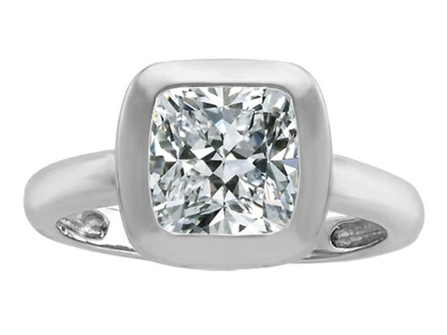 Star K 8mm Cushion Cut Solitaire Ring with Genuine White Topaz in Sterling Silver Size 8