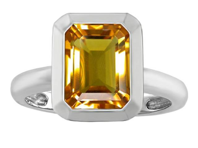 Star K 9x7mm Emerald Cut Octagon Solitaire Ring with Simulated Citrine in Sterling Silver Size 7