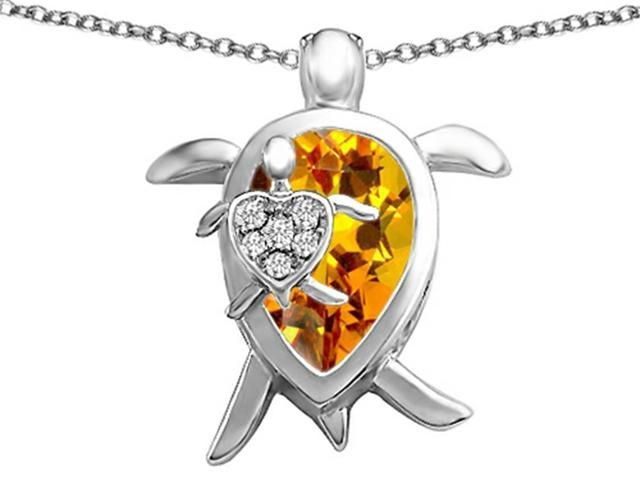 Star K Large Mother and Baby Turtle family Pendant Necklace with 12x8mm Pear Shape Simulated Citrine in Sterling Silver