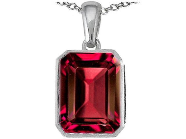 Star K Emerald Cut 10x8mm Created Ruby Pendant in Sterling Silver
