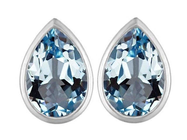 Star K 9x6mm Pear Shape Simulated Aquamarine Earrings Studs in Sterling Silver