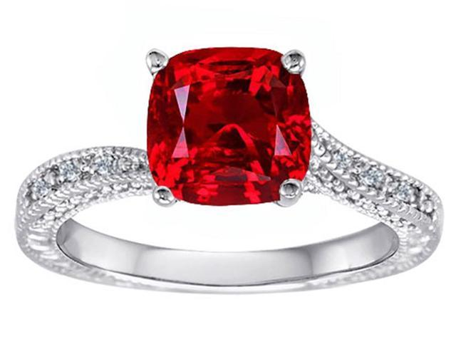 Star K Cushion Cut Created Ruby Solitaire Ring in Sterling Silver Size 6