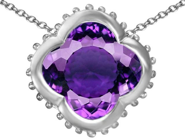 Star K Large Clover Pendant with 12mm Clover Cut Simulated Amethyst in Sterling Silver