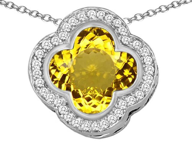 Star K Large Clover Pendant Necklace with 12mm Clover Cut Simulated Citrine in Sterling Silver