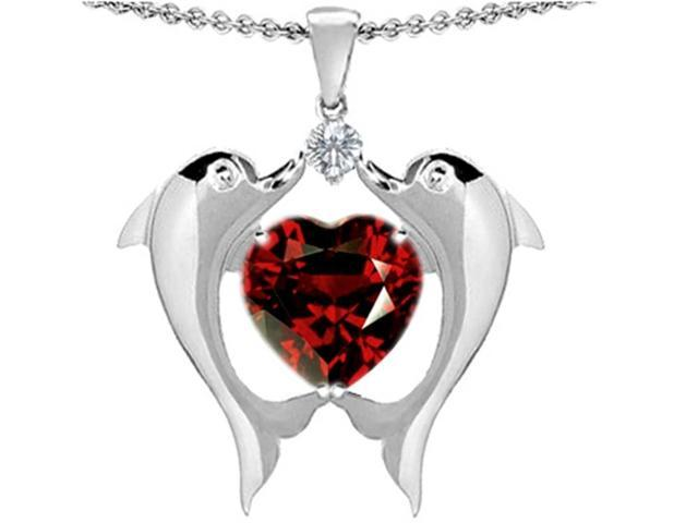 Star K Kissing Love Dolphins Pendant with 8mm Heart Shape Simulated Garnet in Sterling Silver