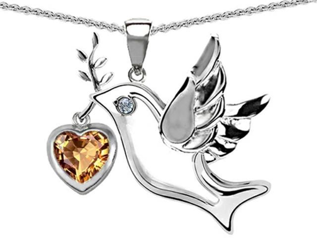 Star K Peace Love Dove Pendant Necklace with Heart Shape 7mm Simulated Imperial Yellow Topaz in Sterling Silver