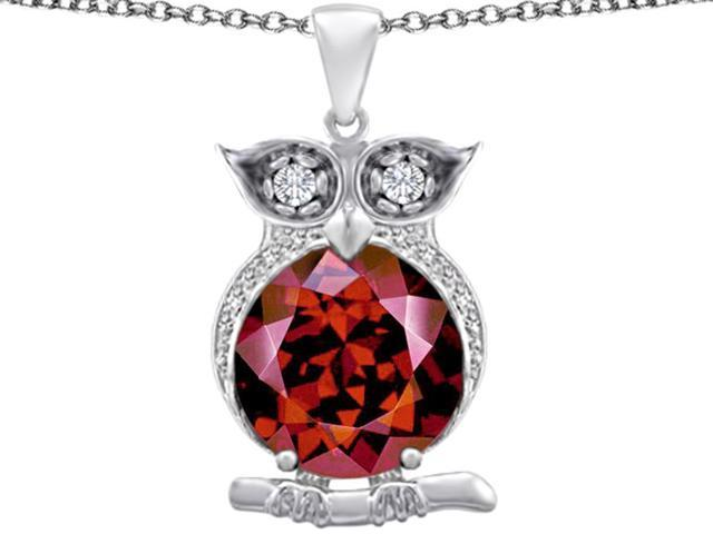Star K Large 10mm Round Simulated Garnet Good Luck Owl Pendant in Sterling Silver