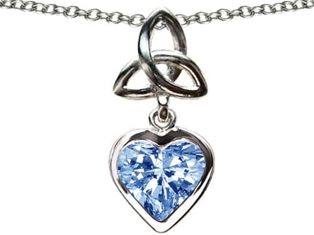 Celtic Love by Kelly Love Knot Pendant with Heart 9mm Simulated Aquamarine in Sterling Silver