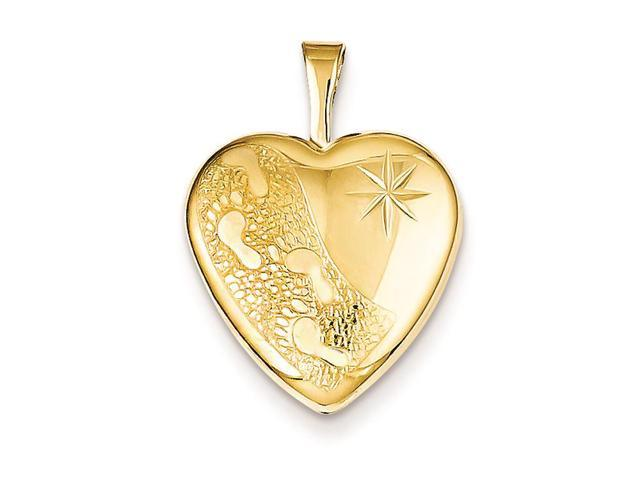 1/20 Gold Filled 16mm Footprints Heart Locket Chain Included