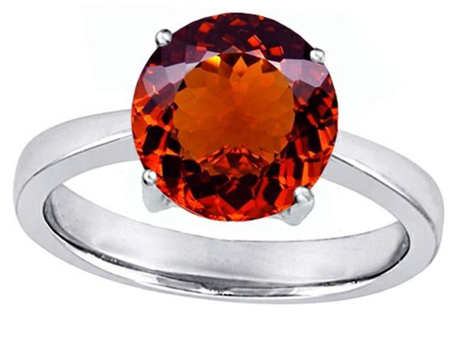 Star K Large Solitaire Big Stone Ring with 10mm Round Simulated Garnet in Sterling Silver Size 7