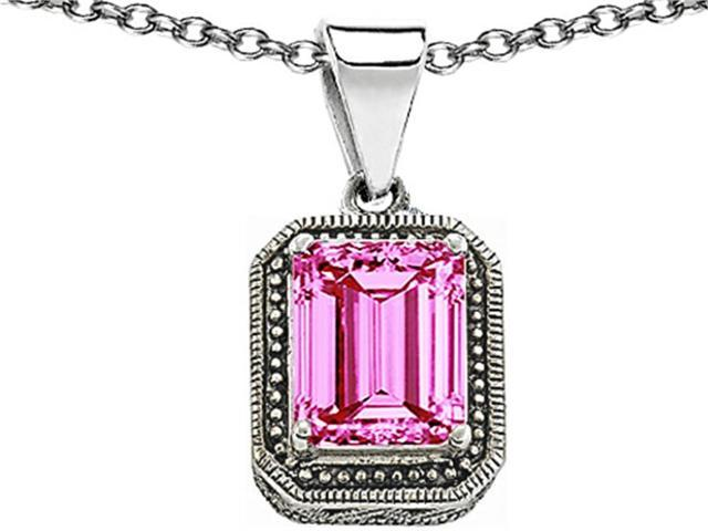 Star K Bali Style Emerald Cut 10x8mm Created Pink Sapphire Pendant in Sterling Silver