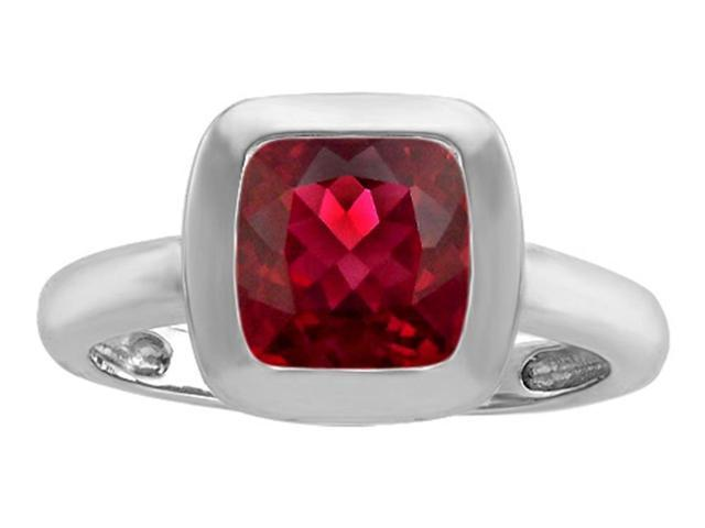 Star K 8mm Cushion Cut Solitaire Ring with Created Ruby in Sterling Silver Size 6