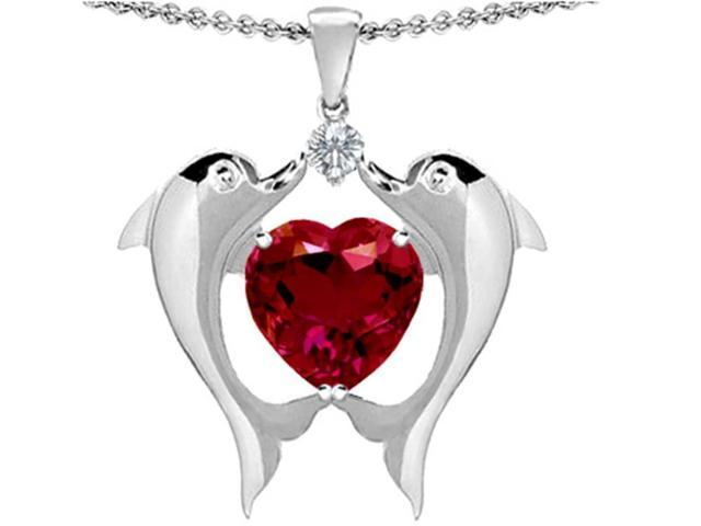 Star K Kissing Love Dolphins Pendant with 8mm Heart Shape Created Ruby in Sterling Silver
