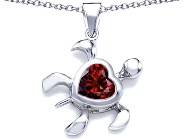 Star K Large 10mm Heart Shape Simulated Garnet Sea Turtle Pendant Necklace in Sterling Silver