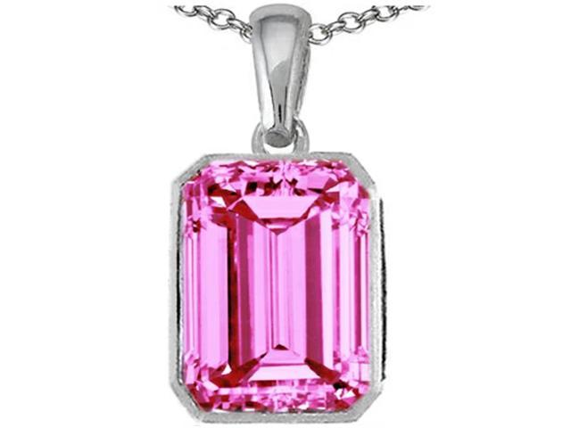Star K Emerald Cut 10x8mm Created Pink Sapphire Pendant in Sterling Silver