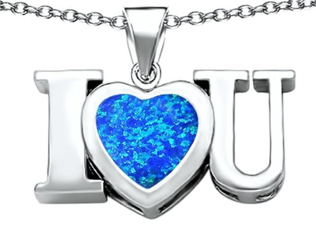 Star K 8mm Heart Shape Blue Simulated Opal I Love You Heart Pendant in Sterling Silver