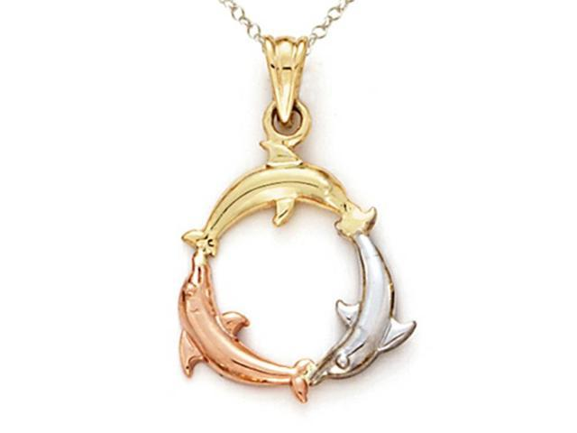 14kt Tricolor Gold 3 Dolphin Pendant Chain Included