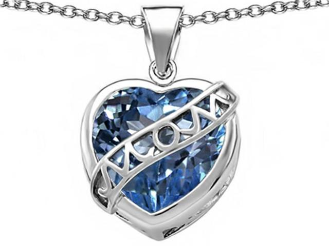 Star K Large Love Mom Mother Pendant with 15mm Heart Shape Simulated Aquamarine in Sterling Silver