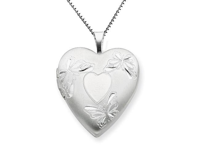 Sterling Silver 20mm with Heart Butterflies Heart Locket Necklace Chain Included
