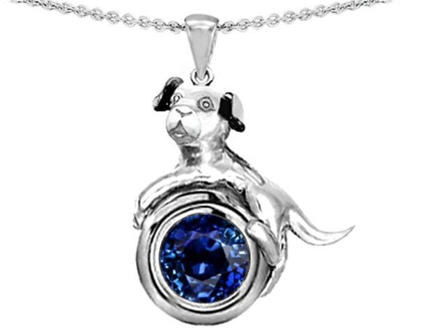 Star K Dog Lover Pendant Necklace with September Birth Month Round 7mm Created Sapphire in Sterling Silver