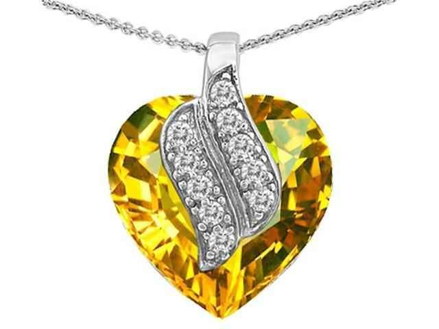 Star K Large 15mm Heart Shape Simulated Citrine Soul Mate Pendant in Sterling Silver