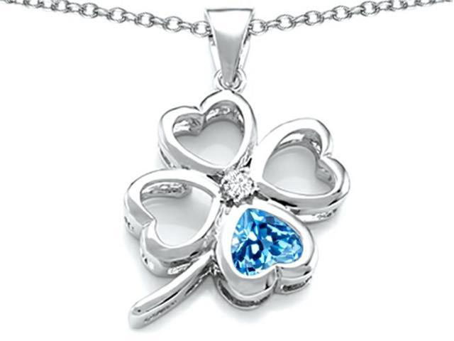 Star K Large 7mm Heart Shape Simulated Blue Topaz Lucky Clover Heart Pendant Necklace in Sterling Silver