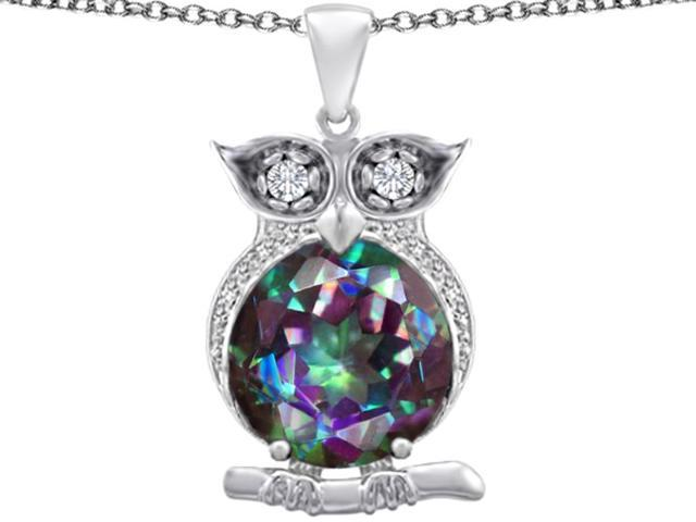 Star K Large 10mm Round Rainbow Mystic Topaz Good Luck Owl Pendant in Sterling Silver