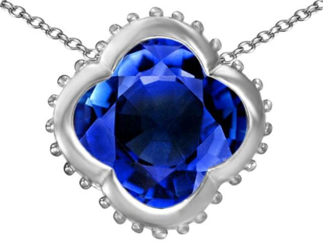 Star K Large Clover Pendant Necklace with 12mm Clover Cut Created Sapphire in Sterling Silver