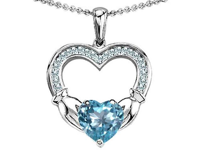 Celtic Love by Kelly Hands Holding 8mm Heart 1inch Claddagh Pendant with Simulated Aquamarine in Sterling Silver