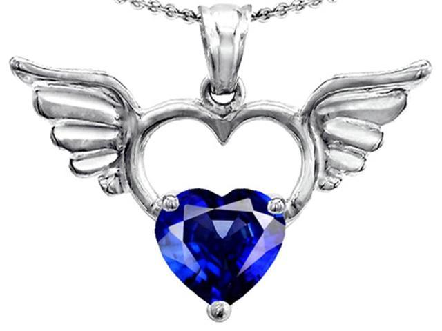 Star K Wings Of Love Birth Month Pendant Necklace with 8mm Heart Shape Created Sapphire in Sterling Silver