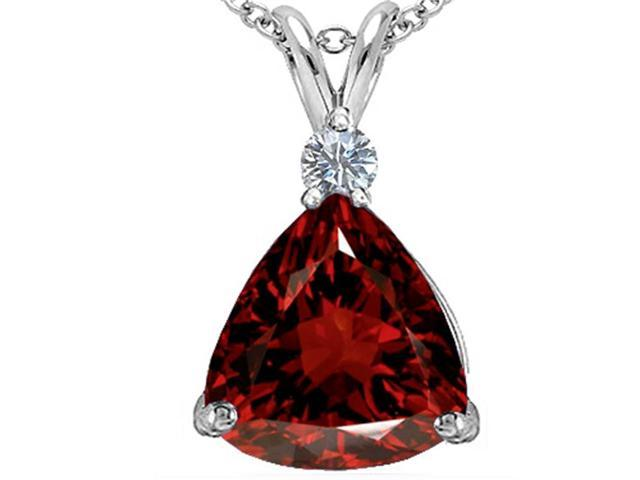 Star K Large 12mm Trillion Cut Simulated Garnet Pendant in Sterling Silver