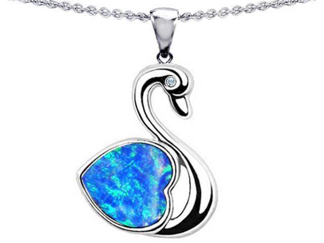 Star K Love Swan Pendant with Heart Shape 8mm Simulated Blue Opal in Sterling Silver