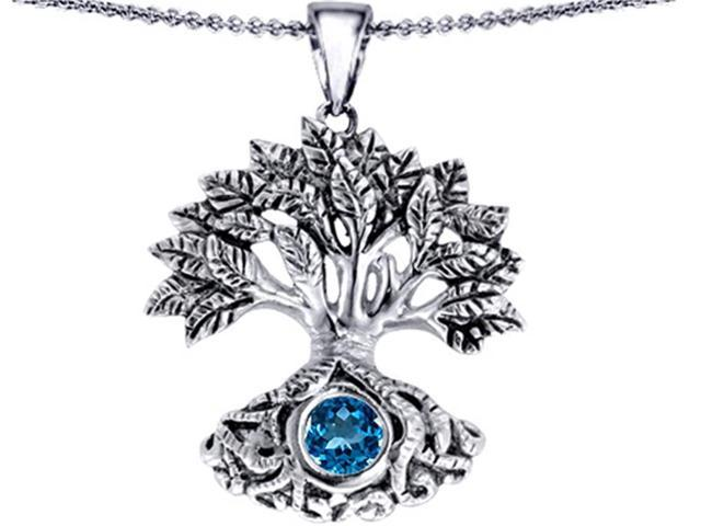 Star K Tree Of Life Good Luck Pendant with 7mm Round Simulated Blue Topaz in Sterling Silver