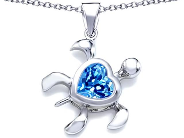 Star K Large 10mm Heart Shape Simulated Blue Topaz Sea Turtle Pendant in Sterling Silver