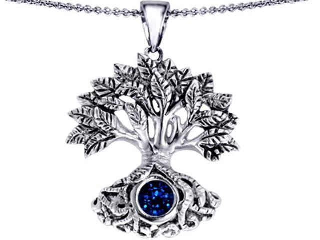 Star K Tree Of Life Good Luck Pendant with 7mm Round Created Sapphire in Sterling Silver