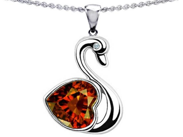 Star K Love Swan Pendant with 8mm Heart Shape Simulated Garnet in Sterling Silver