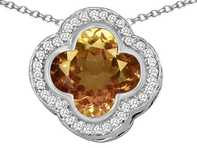 Star K Large Clover Pendant with 12mm Clover Cut Simulated Imperial Yellow Topaz in Sterling Silver