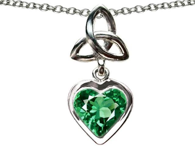 Celtic Love by Kelly Love Knot Pendant with Heart 9mm Simulated Emerald in Sterling Silver