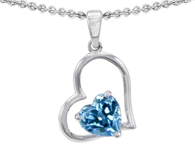 Star K 7mm Heart Shape Simulated Blue Topaz Pendant Necklace in Sterling Silver