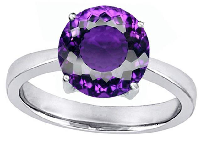 Star K Large Solitaire Big Stone Ring with 10mm Round Simulated Amethyst in Sterling Silver Size 5
